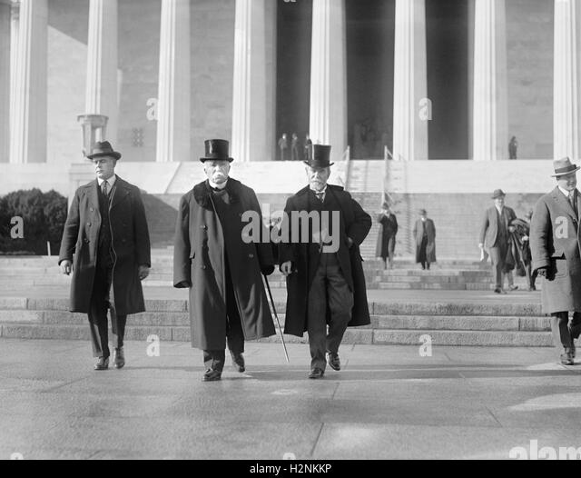 Former French Prime Minister Georges Clemenceau (center) Leaving Lincoln Memorial, Washington DC, USA, National - Stock Image
