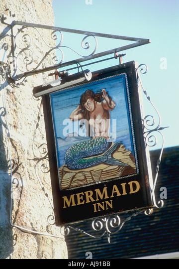 Mermaid pub sign at St Marys island Isles of Scilly England UK - Stock Image