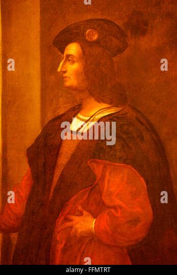Porto Santo, Vila Baleira: Columbus Museum, painting of Christopher Columbus, Madeira - Stock-Bilder