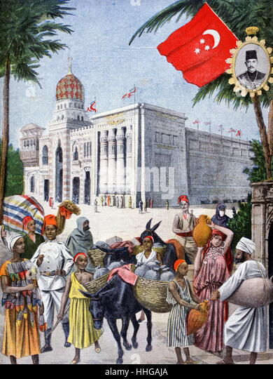 Illustration showing the Egyptian Pavilion, at the Exposition Universelle of 1900 - Stock Image