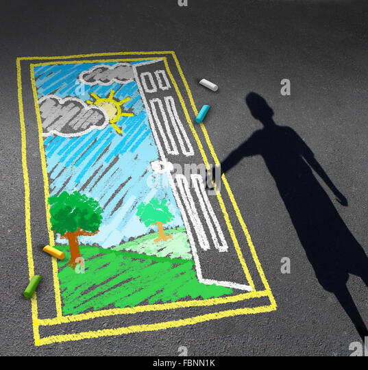 Childhood opportunity concept and child imagination symbol as a shadow of a boy looking down on a pavement with - Stock Image
