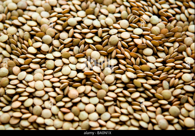 Close up of green lentils - Stock Image