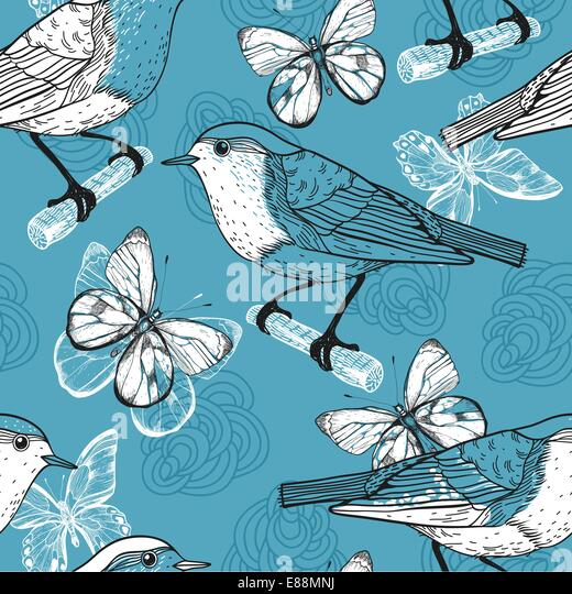 vector seamless pattern with birds and butterflies - Stock Image