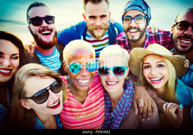Beach Party Togetherness Friendship Happiness Summer Concept - Stock Image