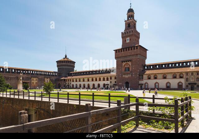 Milan, Milan Province, Lombardy, Italy.  Sforzesco Castle.  Castello Sforzesco. - Stock Image