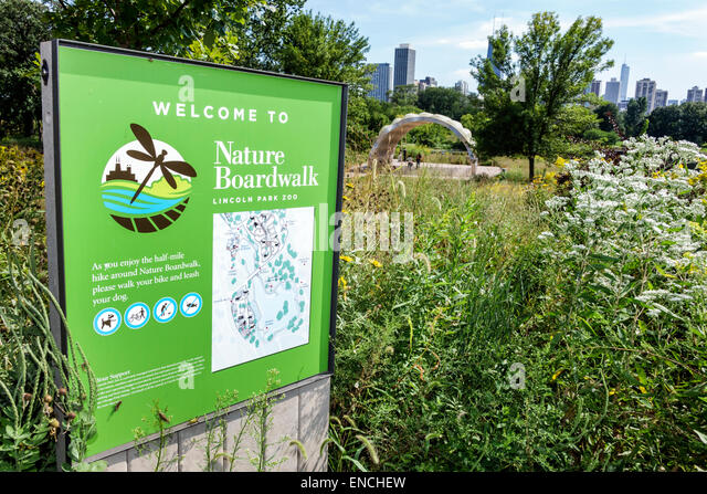Illinois Chicago North Side Lincoln Park Lincoln Park Zoo public park Nature Boardwalk sign map People's Gas - Stock Image