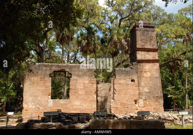 Florida Bulow Plantation Ruins Historic State Park - Stock Image