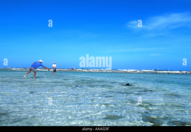 Honduras fishing Bay Islands Guanaja bonefish flats fishing angling late afternoon horizontal Central America - Stock Image