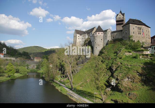 Airview on Loket Castle in Czech Republic - Stock-Bilder