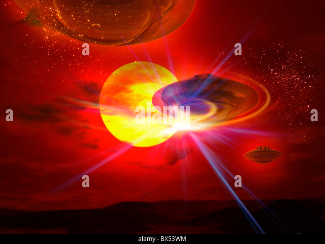 Flying saucers, artwork - Stock Image