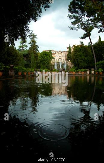 The Villa d'Este and Tivoli Gardens in the rain, Tivoli, Italy. - Stock Image