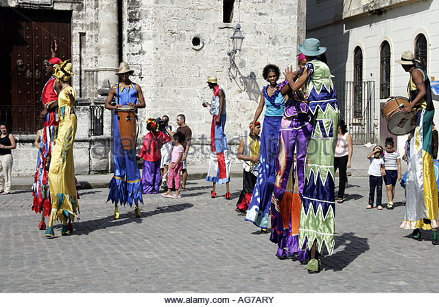 Old Havana, Plaza de la Catedral, Entertainers - Stock Image