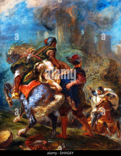 The Abduction of Rebecca - by Eugène Delacroix, 1846 - Stock Image
