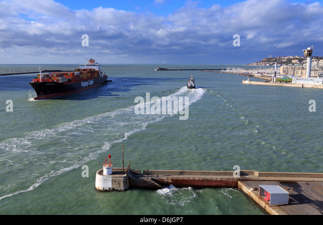Ship in Le Havre Port, Normandy, France, Europe - Stock Image