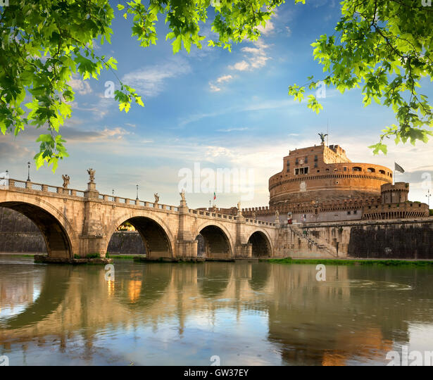 Castle and bridge of Angels in Italy, Rome - Stock Image