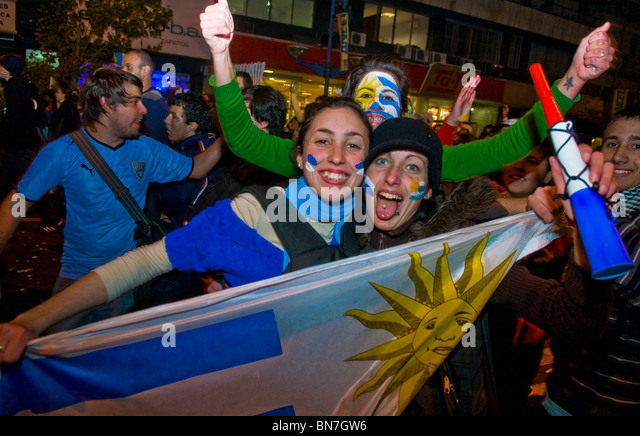 Uruguayan funs celebrating the first semifinals in 40 years - Stock Image