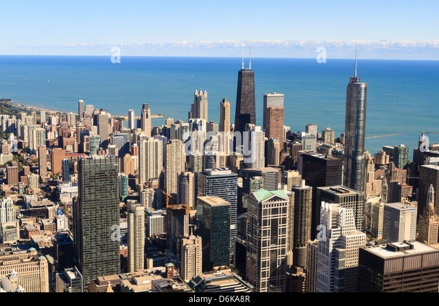 Chicago city skyline and Lake Michigan, Chicago, Illinois, United States of America, North America - Stock Image