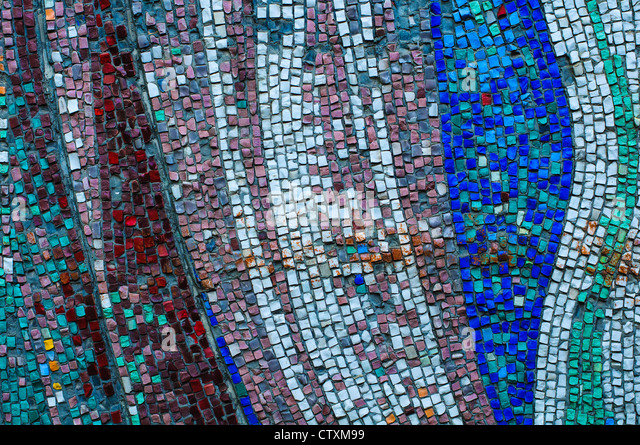 Old colorful mosaic wall texture - Stock Image