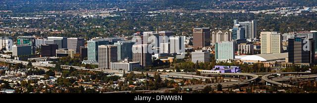 aerial photograph San Jose skyline, Santa Clara county, California - Stock Image