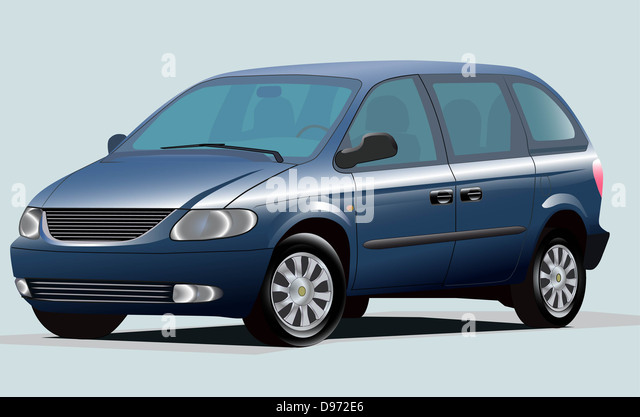 Illustration Of Modern Blue Minivan - Stock Image
