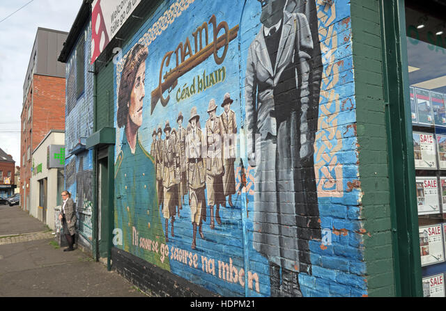 Belfast Falls Rd Republican Mural women of the resistance,Beechmount Avenue - Stock Image