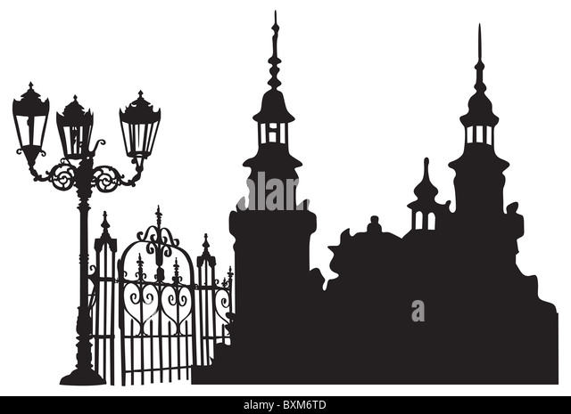 Old European town with lanterns and iron gates - Stock-Bilder