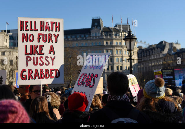 London, UK. 21st Jan, 2017. Placards and banners held aloft in Trafalgar Square as tens of thousands of women take - Stock-Bilder