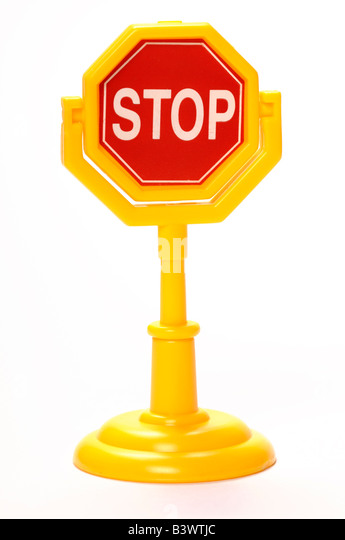 Plastic toy stop sign - Stock-Bilder