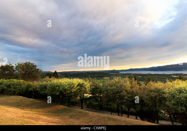 Clouds over rural landscape - Stock Image