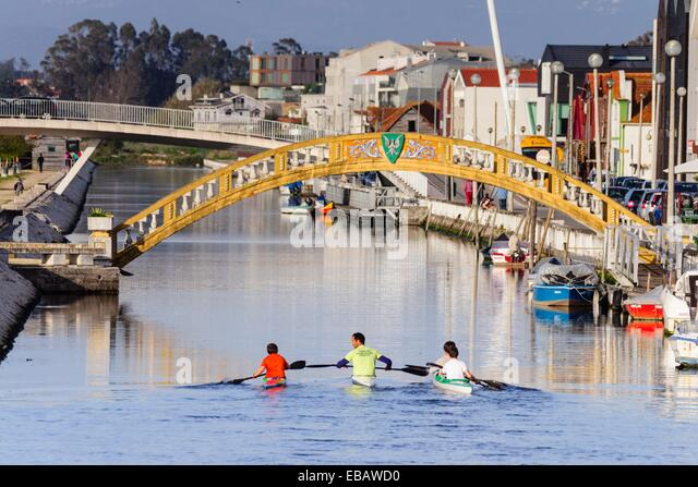 kayakers, bridge Dos Carcavelos, mid-twentieth century, point of junction between the old salt and salt stores, - Stock Image