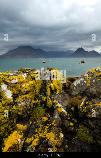 A view across Loch Scavaig towards the Cuillin Ridge from Elgol on the Isle of Skye. - Stock Image