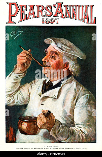 Pears, Tasting, 1897 painting by Albert Holden for the Victorian soap makers with a cook testing the results of - Stock-Bilder