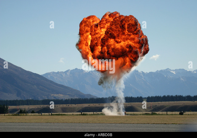 Controlled Explosion at Air Show Re enactment - Stock Image