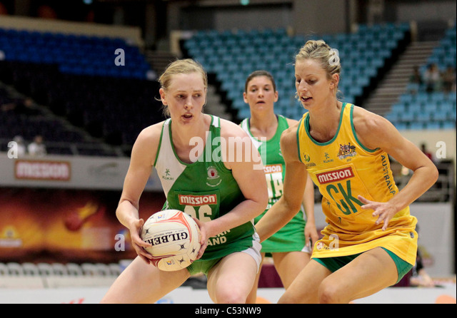 05.07.2011 Noleen Lennon of Northern Ireland(left) looks for passing options while Laura Geitz closes her down during - Stock Image