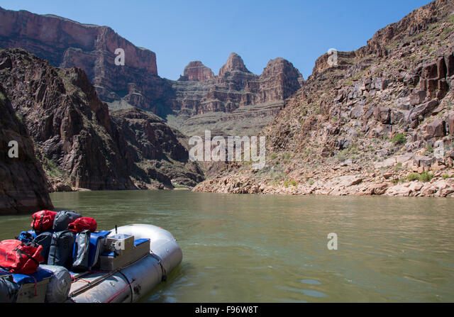 Expedition raft in lowere reaches of Grand Canyon, Colorado River,  Arizona, United States - Stock Image