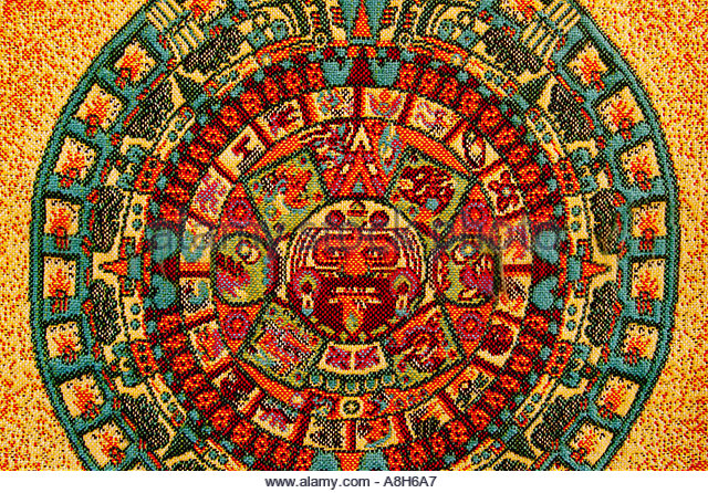 Mexican Calendar Art : Aztec art stock photos images alamy