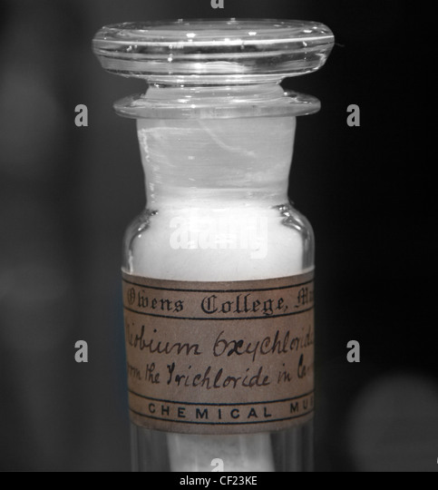 School chemistry bottle with label Sodium Trichloride white powder Chemistry sets were educational toys allowing - Stock Image