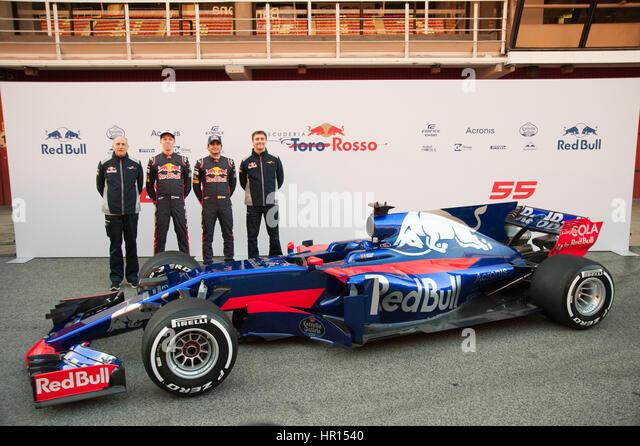 Barcelona, Spain. 26th February, 2017. (from left to right) Carlos Sainz, Daniil Kvyat (drivers) Franz Tost (team - Stock Image