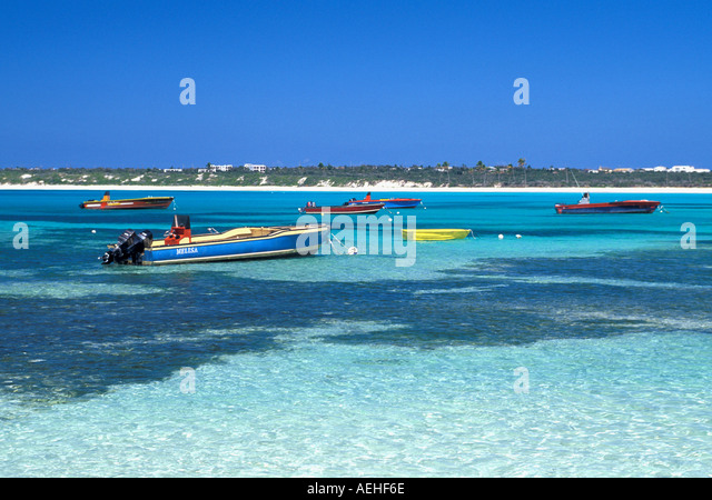 Anguilla Colorful Fishing Boats - Stock Image