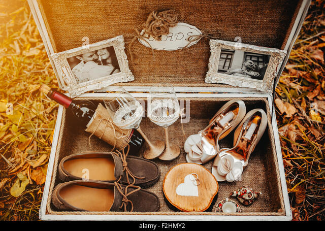 Case with wedding accessorize - Stock Image
