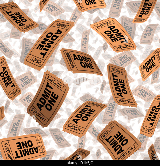 Admission tickets for movies and cinema film festival entertainment celebration concept with paper stubs flying - Stock Image