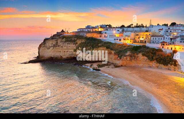 Algarve coast, Carvoeiro at sunset, Portugal - Stock Image