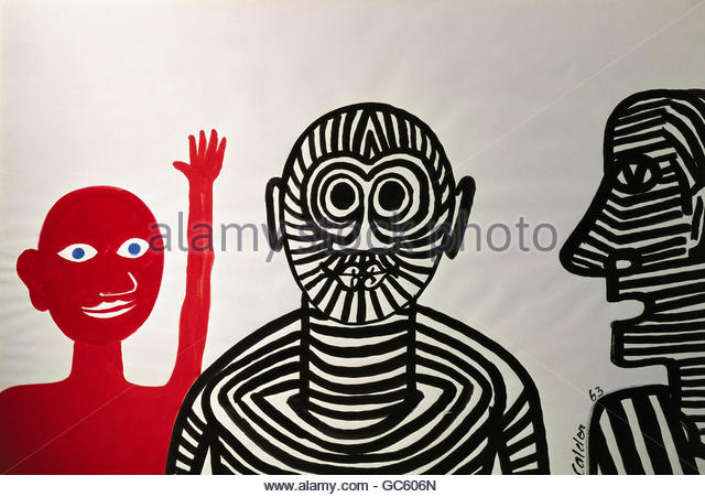 fine arts, Calder, Alexander (1889 - 1976), three personalities, painting, gouache on paper, 40x62 cm, Musee National - Stock Image
