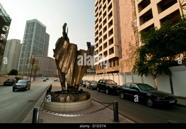 Monument to the memory of Rafiq Hariri, Lebanese politician, murdered February 14, 2005, Beirut, Lebanon - Stock Image