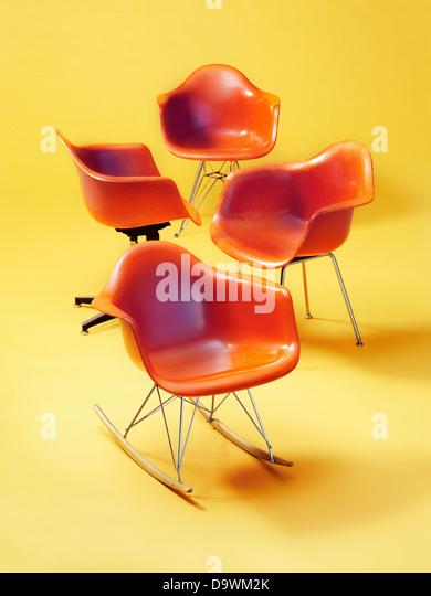 orange chairs - Stock Image