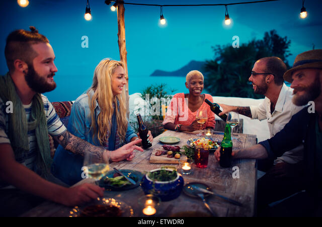 Diverse Ethnic Friendship Party Leisure Happiness Concept - Stock Image