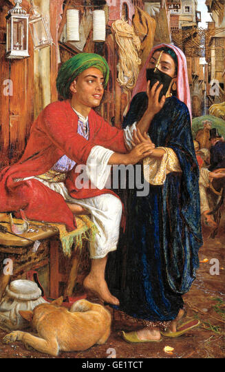 William Holman Hunt, Street Scene in Cairo: The Lantern Maker's Courtship. 1854-1861 Oil on canvas. - Stock Image