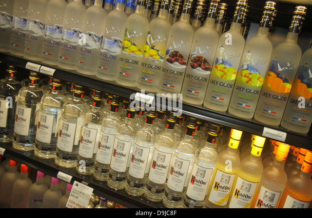 Nevada Las Vegas McCarran International Airport LAS Liquor Library store alcohol bottles shopping retail display - Stock Image