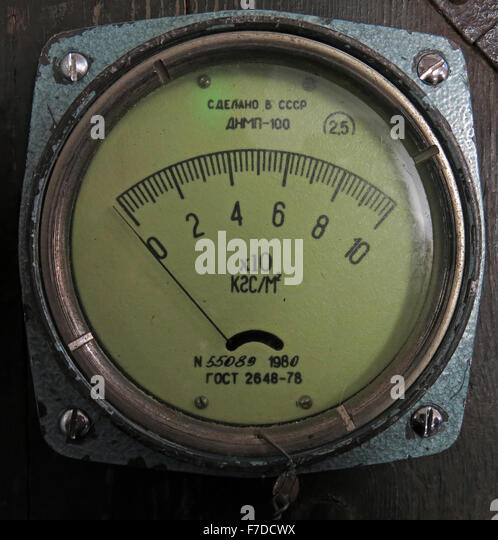 Russian Aircraft Plane Dial Indicators from USSR hardware - Stock Image