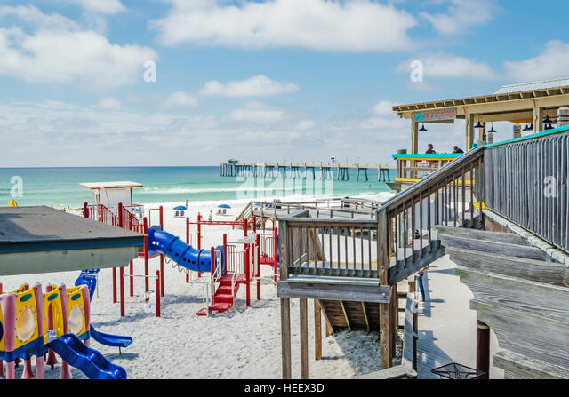 Children's playground on the beach in the resort town of Fort Walton Beach, Florida. - Stock Image